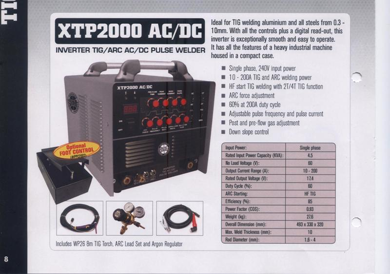 Tig welder new Strata XTP2000 AC/DC inverter tig/arc pulse, single phase, variable amp torch, 2 year warranty