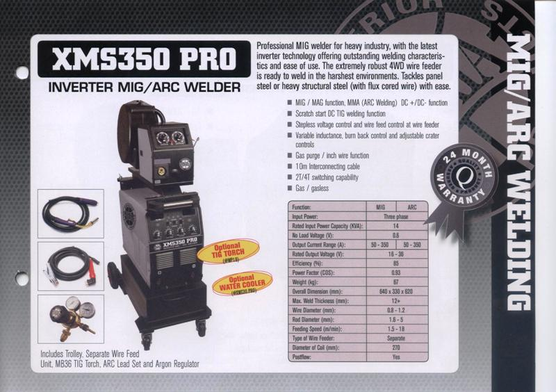 Mig welder new Strata XMS350 PRO three phase remote wire feeder mig/arc, optional tig, optional water cooler