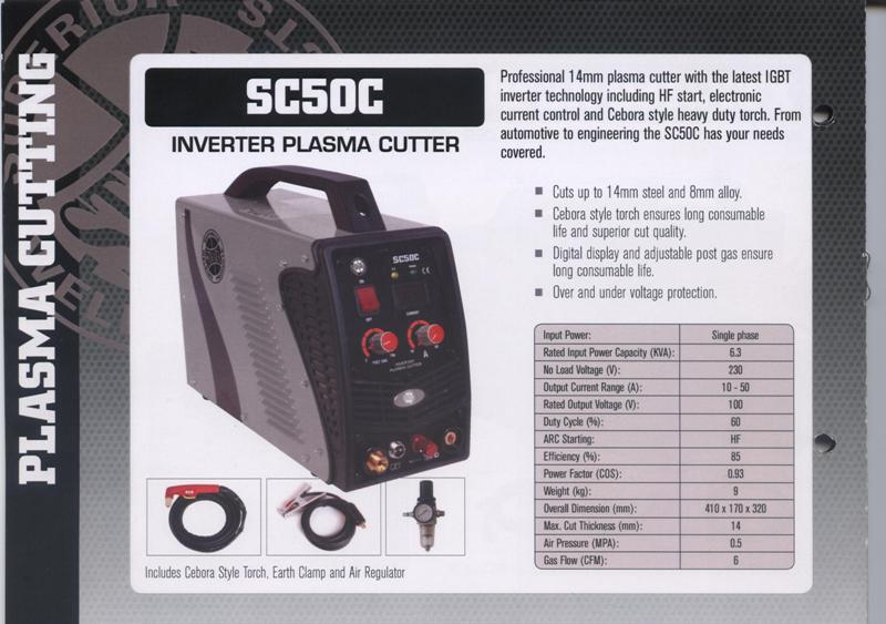 Plasma  Cutter new Strata SC50C single phase IGBT inverter 50amp@60% duty cycle, professional model, cuts up to 14mm, HF start
