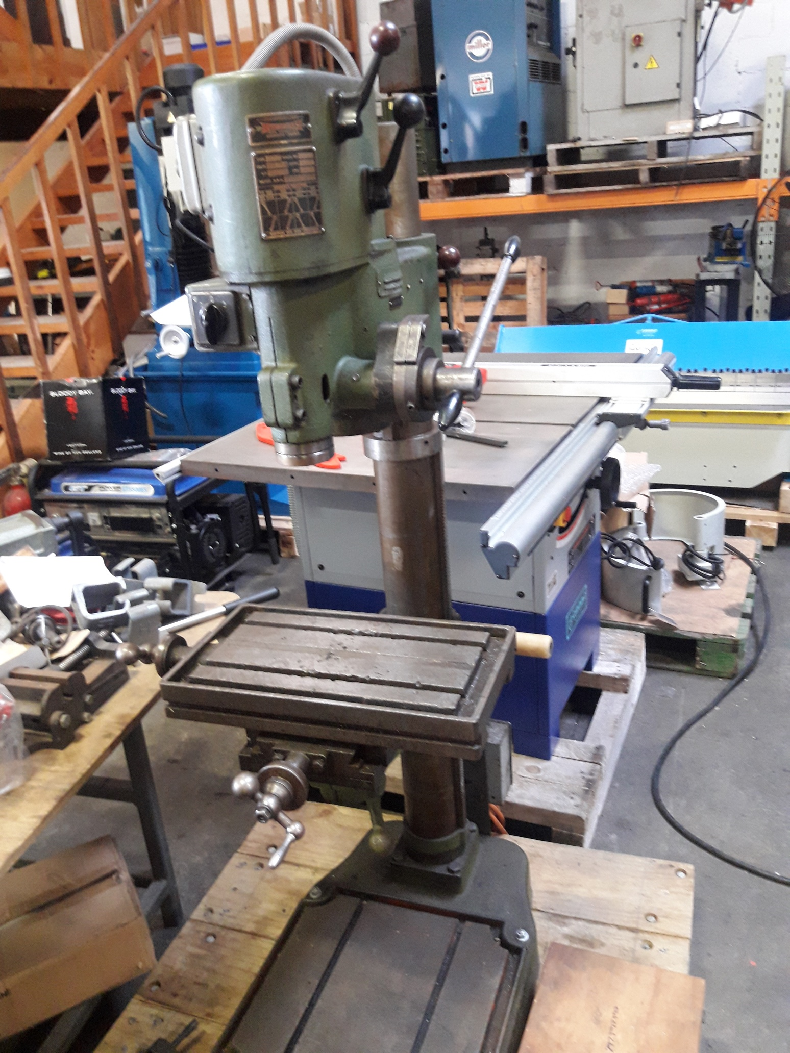 Geared head drill press, Strands (Sweden) 3 phase with compound table, MT3 tidy