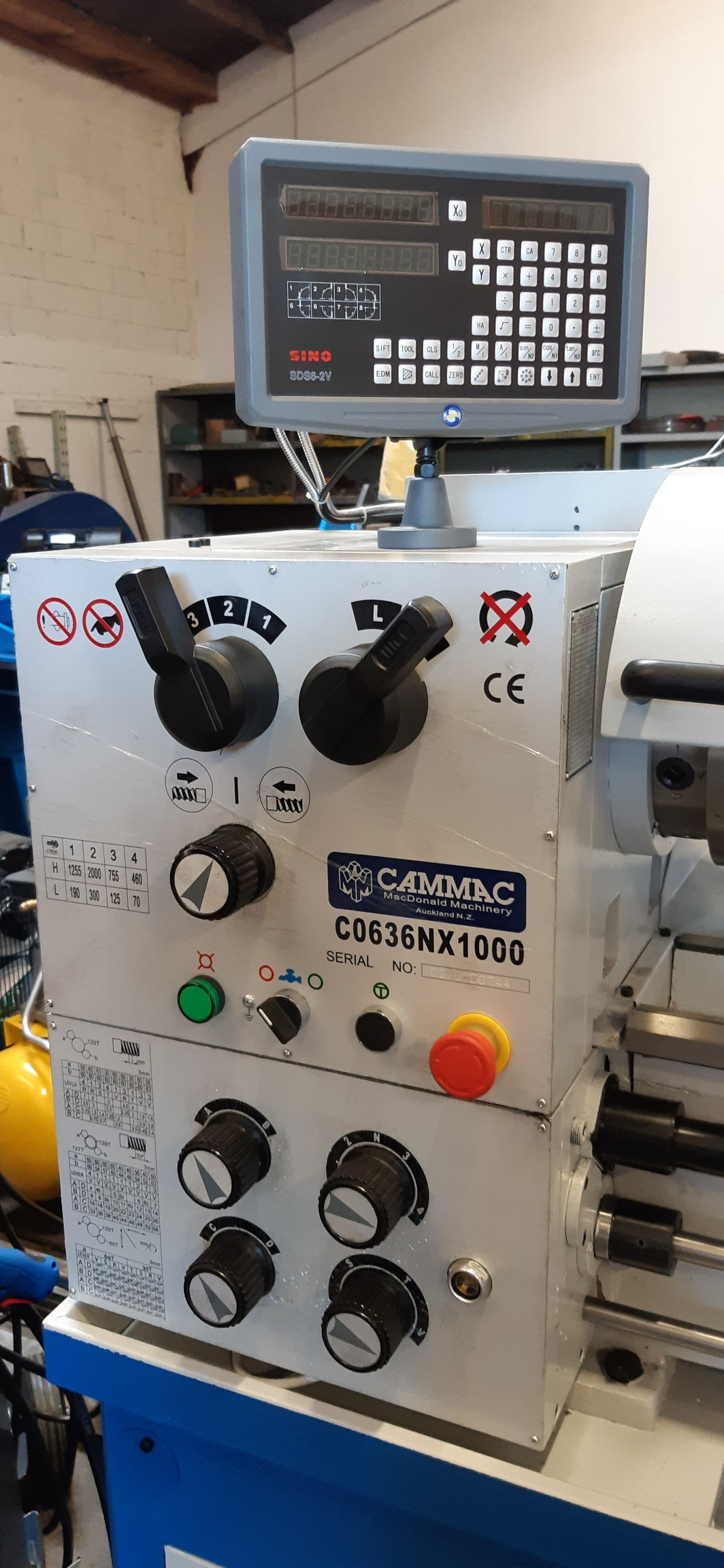 Lathe Cammac CO636N/1000 New $8450+gst single phase 2hp, 52mm spindle, 360swing (480 in gap) 1000mm between centres, DRO coolant pump, light, foot brake, steadies