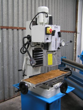Drill/Mill New ZX45, 60-1600rpm, 1.5hp single phase, coolant pump, light, stand, MT4 arbor, drill chuck, geared head rotates 90deg, dovetail column
